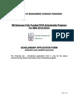 FATA Scholarsihp Application Form Graduate Level 2013-2017