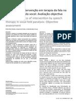 A eficácia da intervenção da terapia da fala na paralisia da prega vocal