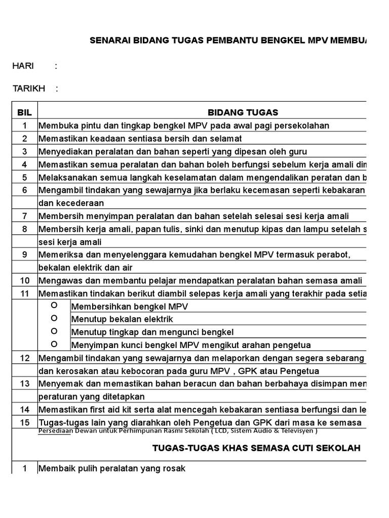 Senarai Tugas Pembantu Operasi Mpv 2