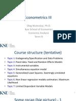 Econometrics III EA L1 Endogeneity (1)