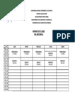 UNEXPO VRP Horario Ing. Mecánica Lapso 2019-2