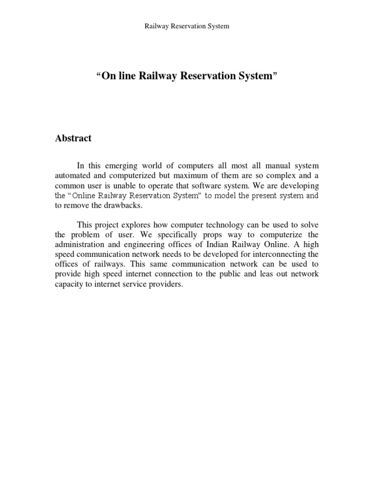 Online Railway Reservation System Report | Use Case | Unit