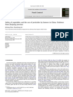 Safety of Vegetables and the Use of Pesticides by Farmers in China