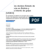 Vo Morales Declara Estado de Emergencia en Bolivia y Denuncia Intento de Golpe