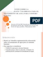consideraciones sobra la reglamentacion colombiana para el tratamiento de agua potable
