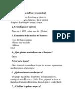 Preguntas Barroco 4to Bim