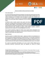 Informe Preliminar de la Misión de Observación Electoral en Bolivia