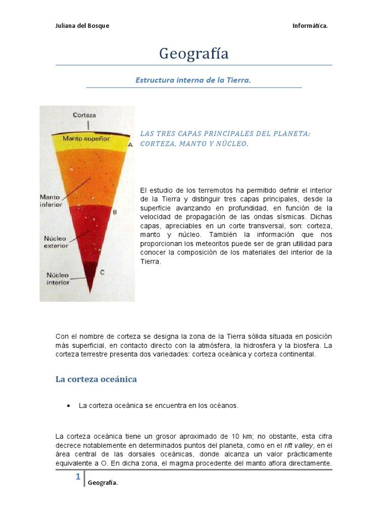 Geografía Estructura Interna De La Tierra