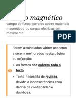 Campo Magnético – Wikipédia, A Enciclopédia Livre