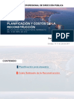 PLANIFICACIÓN Y COSTOS DE LA RECONSTRUCCIÓN DE LAS ZONAS AFECTADAS POR EL TERREMOTO DEL 16 DE ABRIL DE 2016