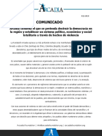 Arcadia - Comunicado 012-2019