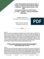 HISTÓRIA DE UMA INSTITUIÇÃO EDUCACIONAL PARA OS CEGOS - ICBC - UBERABA OBRA CONSTRUÍDA EM ÁREA DOADA PELA LOJA MAÇÔNICA ESTRELA UBERABENSE N°0941 - GOBMG -CRUZ DA PERFEIÇÃO MAÇÔNICA -convertido