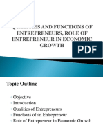 Qualities and Functions of Entrepreneurs Role of Entrepreneur in Economic Growth