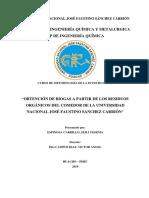"""""""Obtención de Biogas a Partir de Los Residuos Orgánicos Del Comedor de La Universidad Nacional José Faustino Sanchez Carrión"""""""