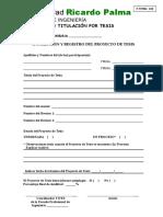 F.titeS 005 Inscripción y Registro Del Proyecto de Tesis 2019