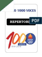 Coro 1000 Voces - Repertorio