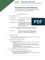 Sample Template Syllabus Formulation
