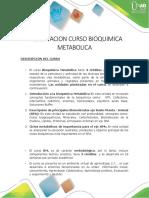 Presentación Del Curso Bioquímica Metabólica
