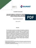 Balance Sobre El Estado Del Conocimiento en Politica Tributaria en Peru y Recomendaciones Para Futuras Investigaciones