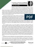 ANUNCIO DEL TEMA DE 2010 - 16 DÍAS DE ACTIVISMO CONTRA LA VIOLENCIA DE GÉNERO - 25 de noviembre – 10 de diciembre de 2010