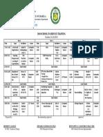 2018 School Inset Training Matrix
