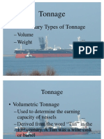 Tonnage Two Primary Types of Tonnage –Volume –Weight