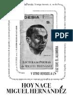 Hoy Nace Miguel Hernández y Otros Versos a la Luz que Él Alumbra Iª Edición HNMH 2017