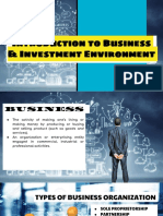 Introduction to Business and Investment Environment