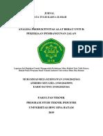Analisa Produktivitas Alat Berat Untuk Pekerjaan Pembangunan Jalan.docx