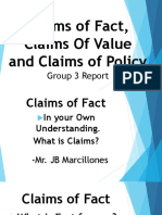 Claims of Fact,Value, Policy