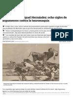 De Quevedo a Miguel Hernández_ Ocho Siglos de Argumentos Contra La Tauromaquia