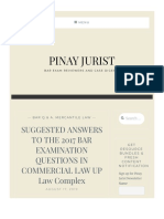 Suggested Answers to the 2017 Bar Examination Questions in Commercial Law Up Law Complex – Pinay Jurist