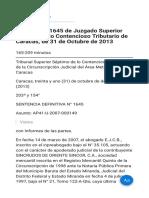Decisión nº 1645 de Juzgado Superior Septimo de lo Contencioso Tributario de Caracas  de 31 de Octubre de 2013.pdf