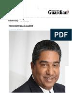 Proroguing Parliament - Trinidad Guardian