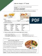 Teste francês- Alimentação