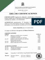 Area Certificaciones Tupa 2014