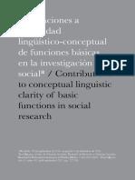 Aportaciones a la claridad lingüístico-conceptual de funciones básicas en la investigación socialArtículo Publicado en Tla-melahua (Versión Final)