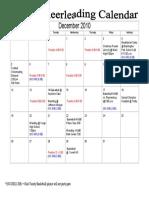 December Cheer Leading Calendar