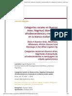 Categorías Raciales en Buenos Aires. Negritud, Blanquitud, Afrodescendencia y Mestizaje en La Blanca Ciudad Capital