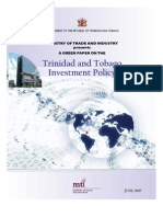 MTI - Trinidad and Tobago Investment Policy 2007