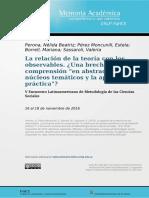La Relación de La Teoría Con Los Observables ¿Una Brecha Entre Compresión en Abstracto de Núcleos Temáticos y La Apropiación de La Práctica