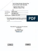 Recall of State Senator Richard Pan Signature Status Report 2 Yolo County