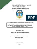 Mejoramiento, Ampliación Del Sistema de Alcantarillado y Construcción Del Sistema de Tratamiento de Aguas Residuales de La Localidad de Tres de Diciembre-chupaca-junin