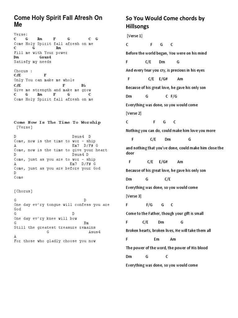 Come Holy Spirit Fall Afresh On Me   PDF   Song Structure