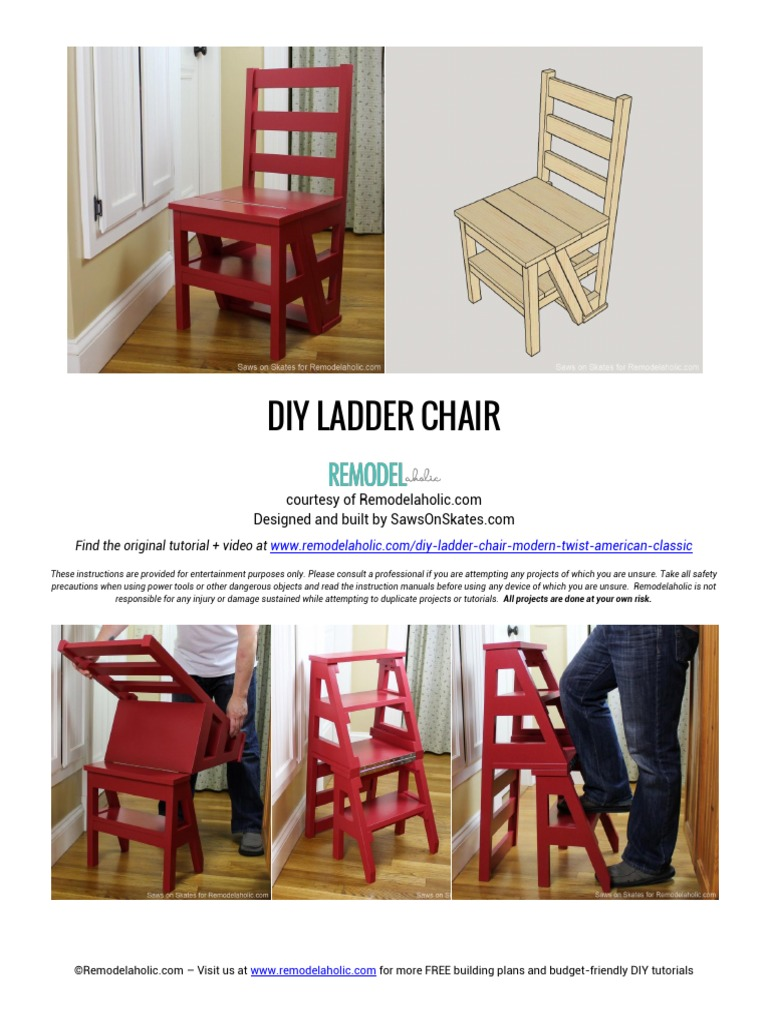 Ladder Chair Building Plan Tools Equipment