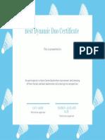 best dynamic duo certificate  1