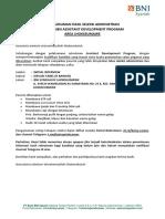 Pengumuman Hasil Seleksi Administrasi ADP Area Lhokseumawe