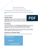 Lesson Guide on Position Paper