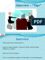 Tips for Personal Interview