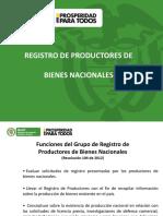 Registro de Productores Bienes Nacionales
